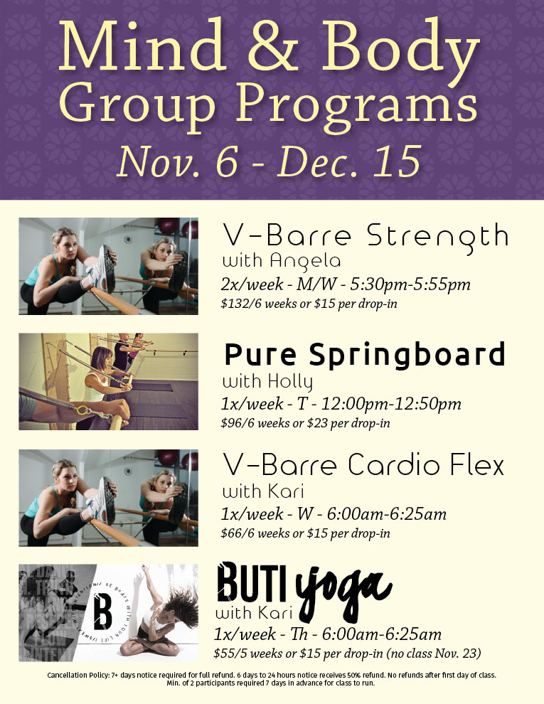 mind and body this week A structured, 8-week group program that teaches stress reduction and self-care   clients seeking training in mind techniques to manage brain/body stress.